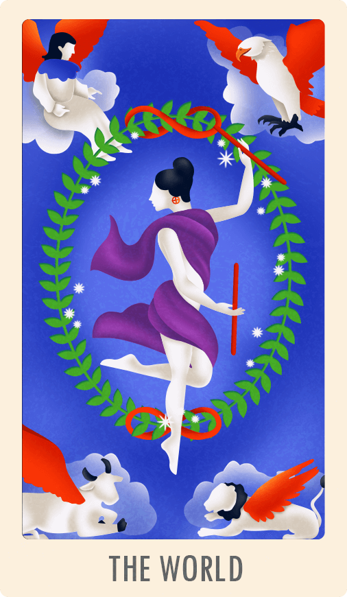 The World Tarot Card - Meaning of Upright, Reversed and Love